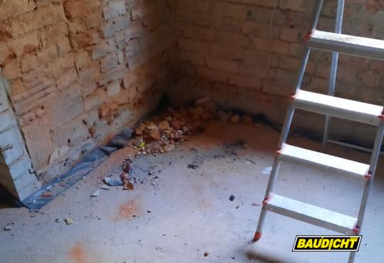 BAUDICHT EPDM Bauwerksabdichtung bei der Altbausanierung Kellerecke ohne EPDM