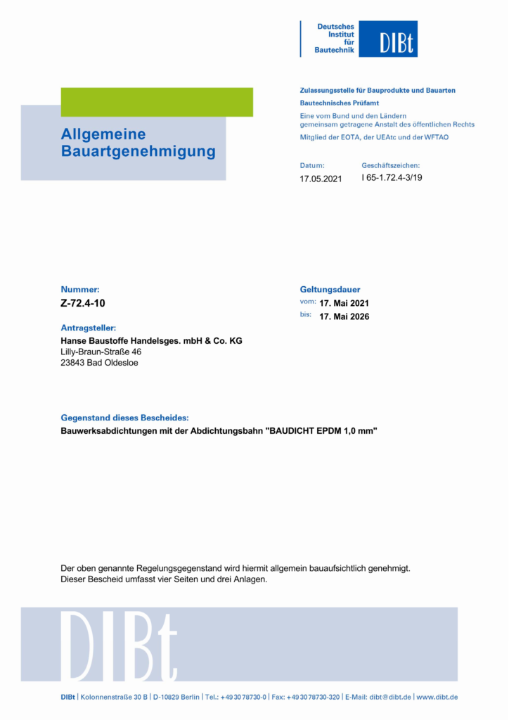 BAUDICHT EPDM Bauwerksabdichtung Allgemeine Bauartgenehmigung