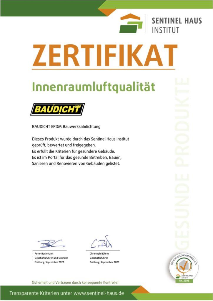 Sentinel Zertifikat Baudicht